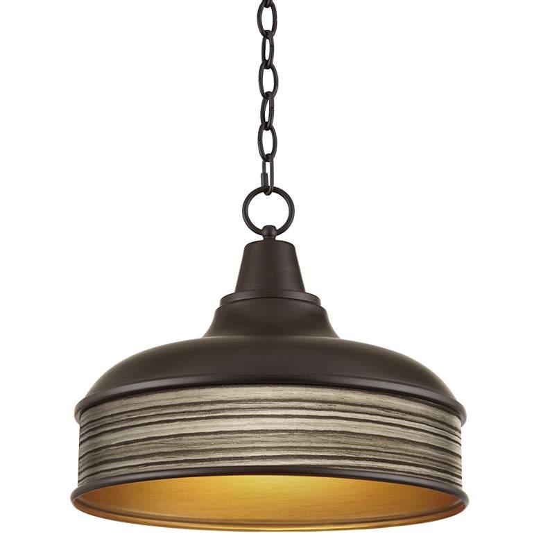 "Cedar Zebrawood Benson 15"" Wide Bronze Pendant Light"