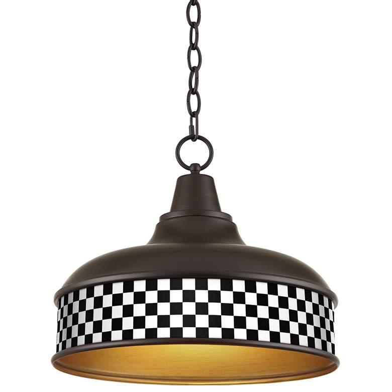 "Checkered Noir Benson 15"" Wide Bronze Pendant Light"