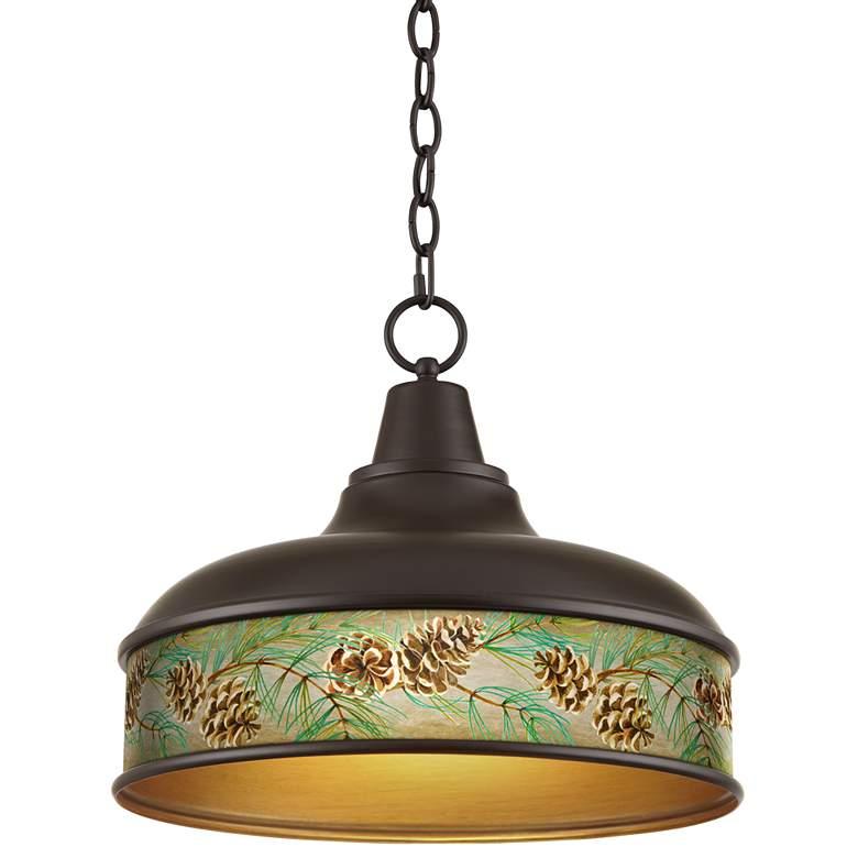 "Cone Branch Benson 15"" Wide Bronze Pendant Light"