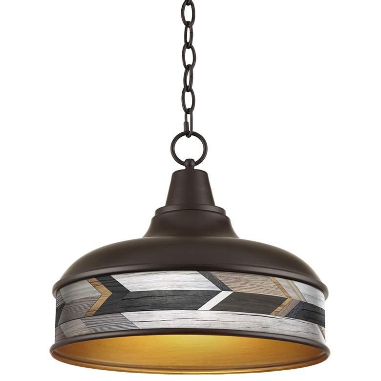 "Woodwork Arrows Benson 15"" Wide Bronze Pendant Light"