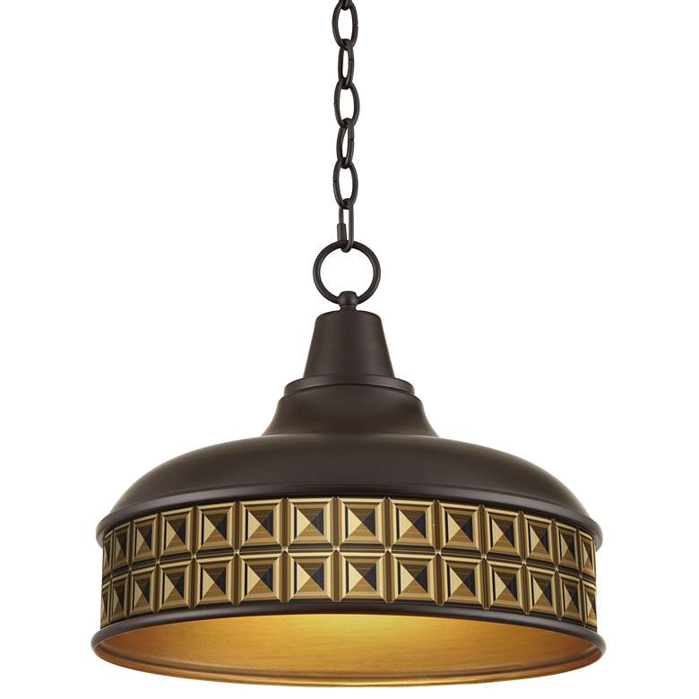 "Geometric Woodblocks 15"" Wide Benson Bronze Pendant Light"