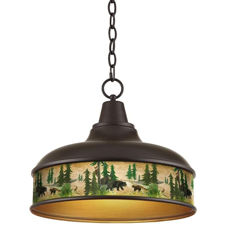 "Bear Lodge Benson 15"" Wide Bronze Pendant Light"