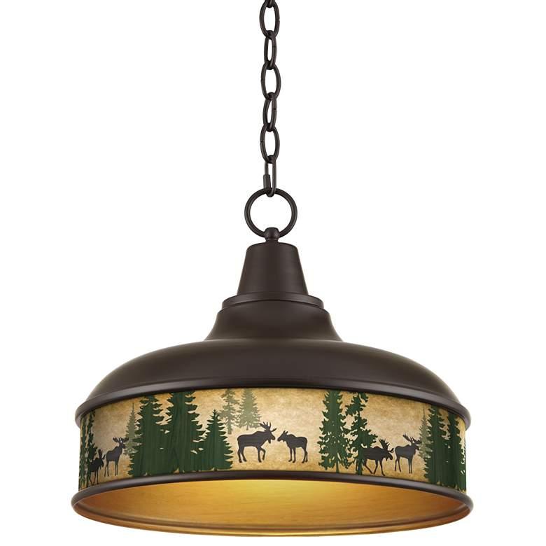 "Moose Lodge Benson 15"" Wide Bronze Pendant Light"