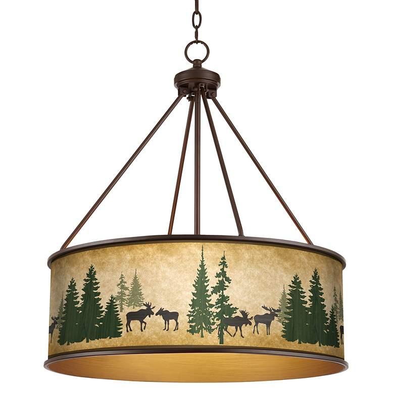 "Moose Lodge Yulie 24 3/4"" Wide Bronze Pendant"