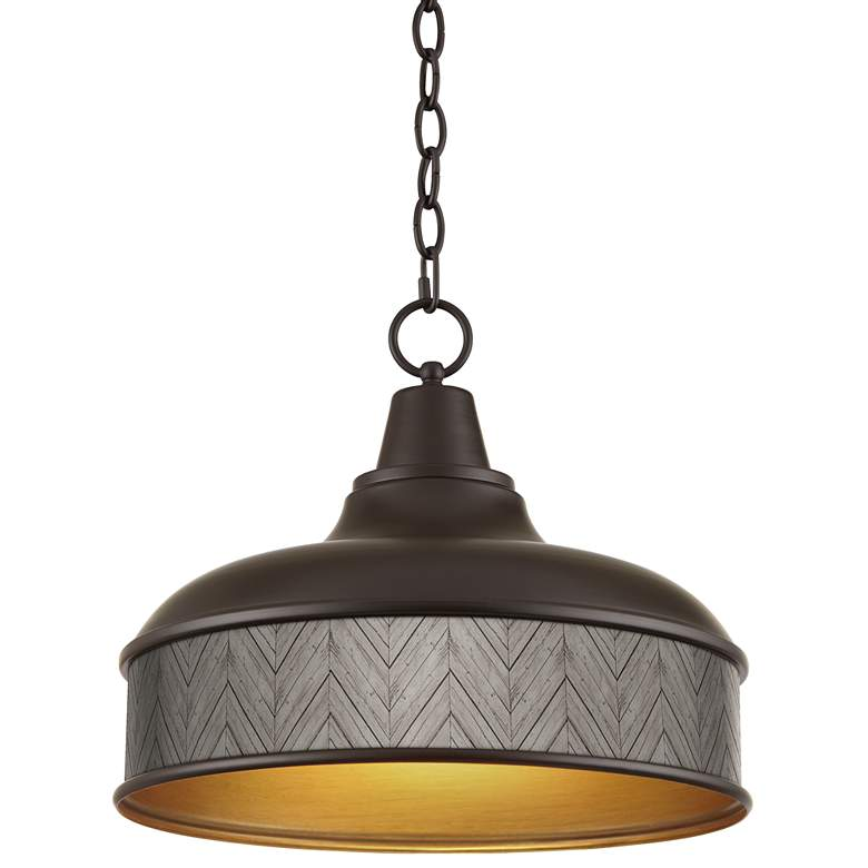 "Antique Woodwork Benson 15"" Wide Bronze Pendant Light"