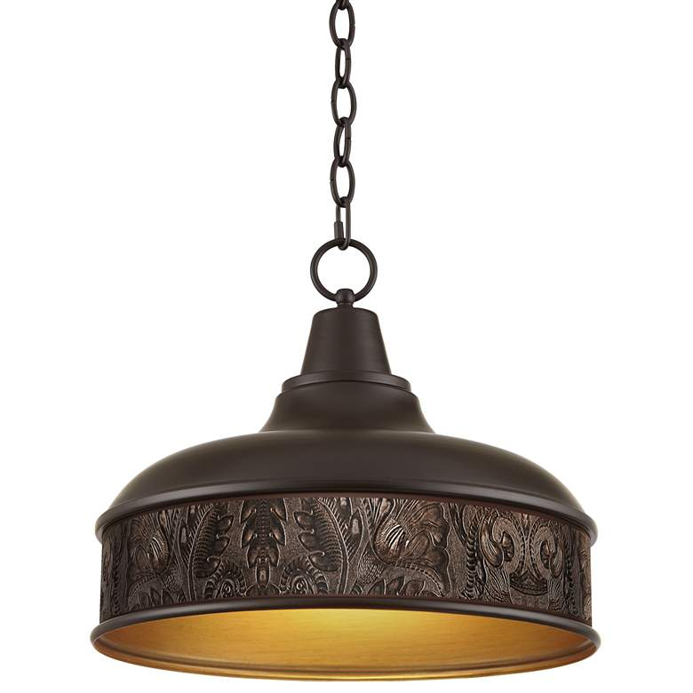 """Embossed Faux Leather 15"""" Wide Benson Bronze Pendant"""