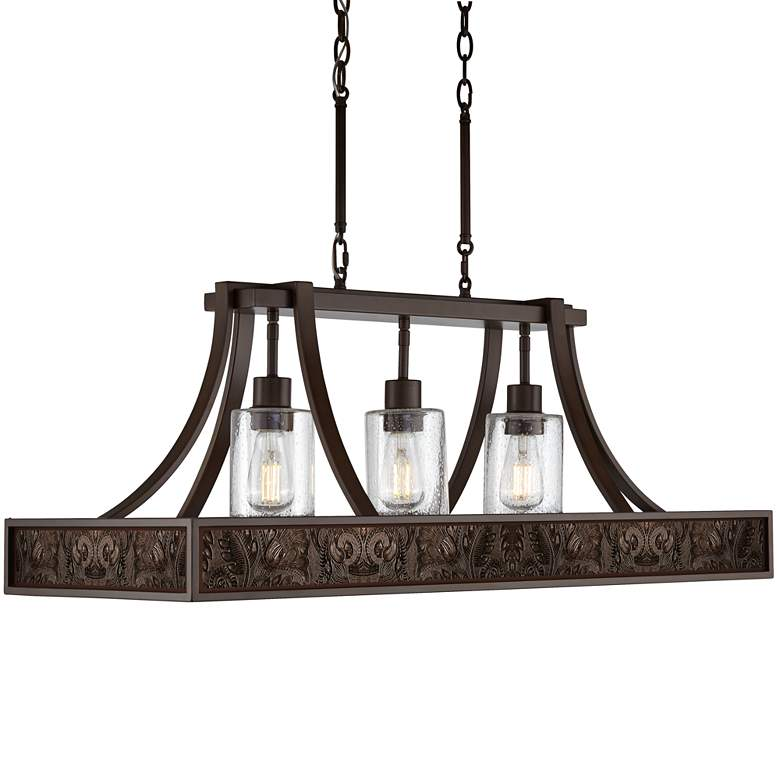 """Embossed Faux Leather 36"""" Wide Kitchen Island Light"""