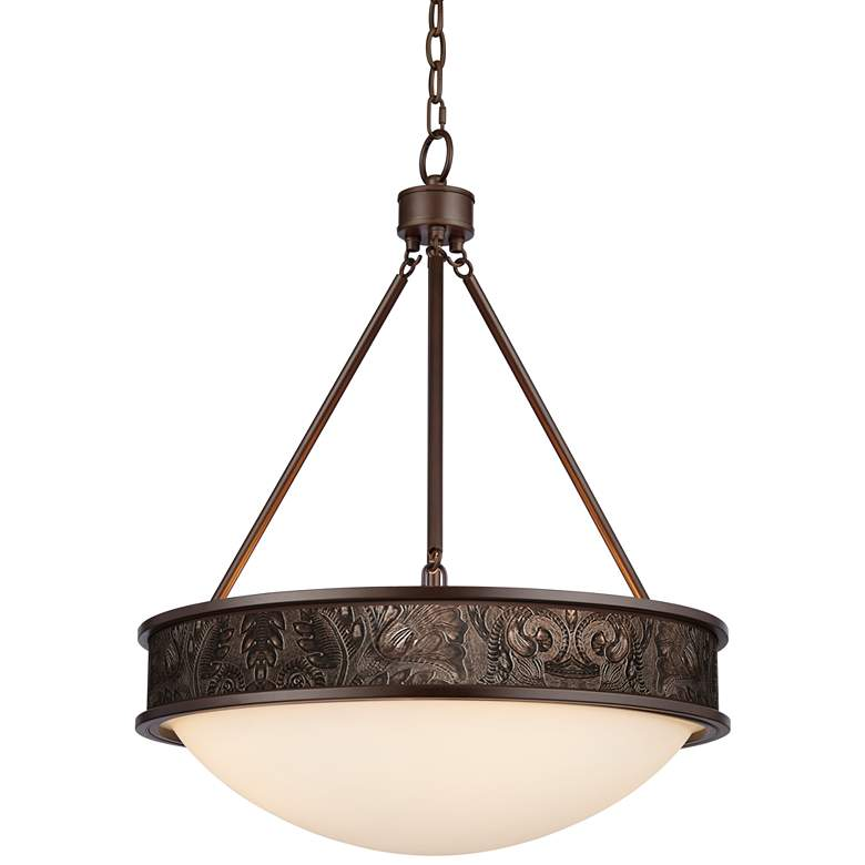 "Embossed Faux Leather 20 1/2"" Wide Bronze Pendant Light"