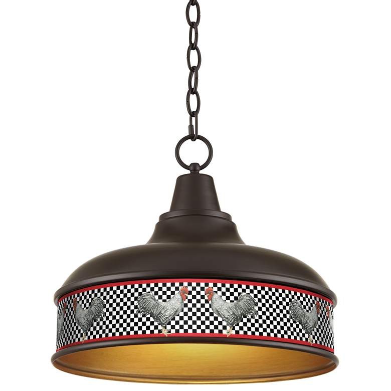 "Country Rooster 15"" Wide Benson Bronze Pendant Light"