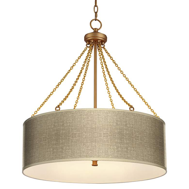 Burlap Print Dana Antique Brass Pendant Light
