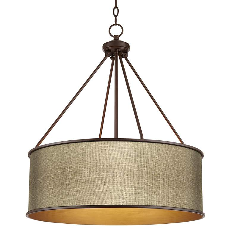 "Burlap Print Yulie 24 3/4"" Wide Bronze Pendant Light"