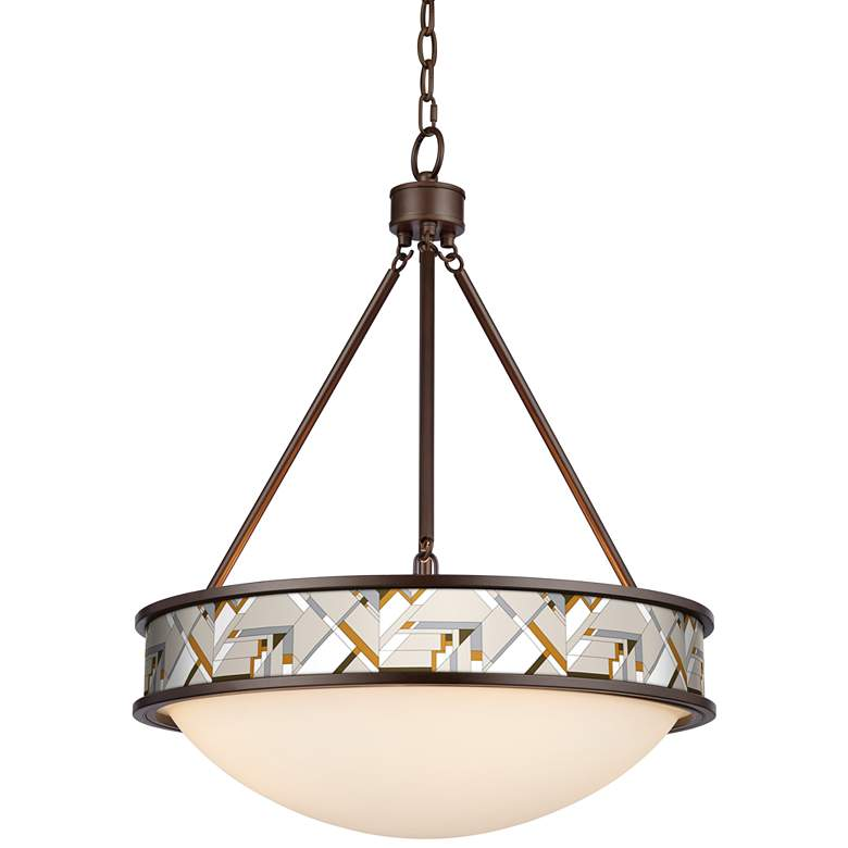 "Craftsman Mosaic Lamont 20 1/2"" Wide Bronze Pendant Light"