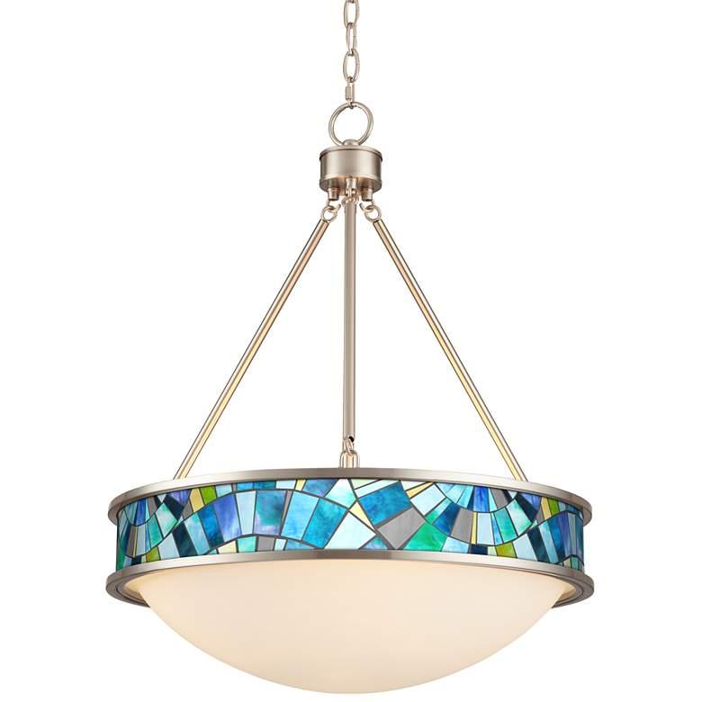 """Lagos Mosaic 20 1/2"""" Wide Brushed Nickel Pendant Light"""