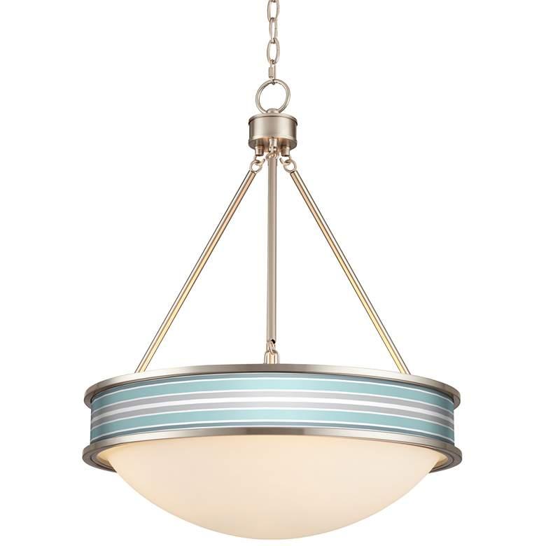 """Color Stripes 20 1/2"""" Wide Brushed Nickel Pendant Light"""