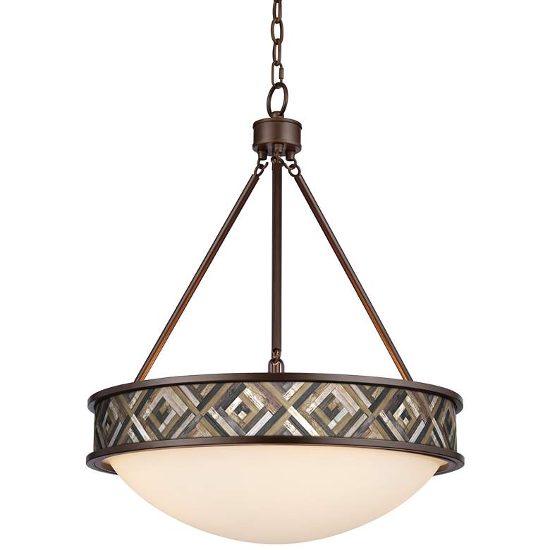 "Woodwork Diamonds Lamont 20 1/2"" Wide Bronze Pendant Light"