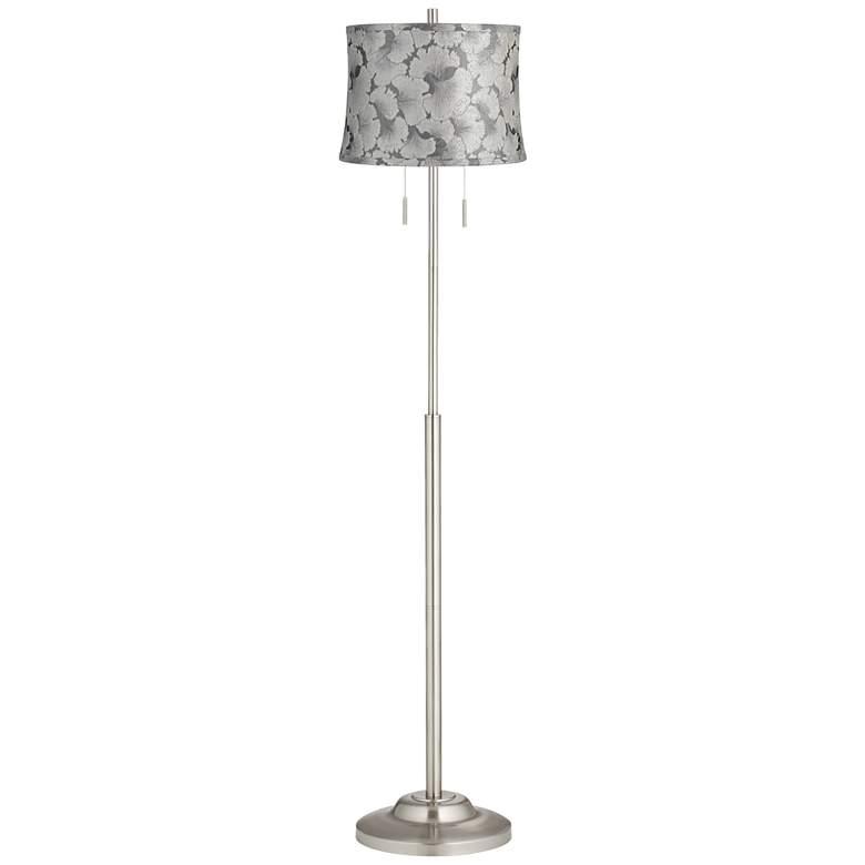 Abba Silver Ginkgo Twin Pull Chain Floor Lamp