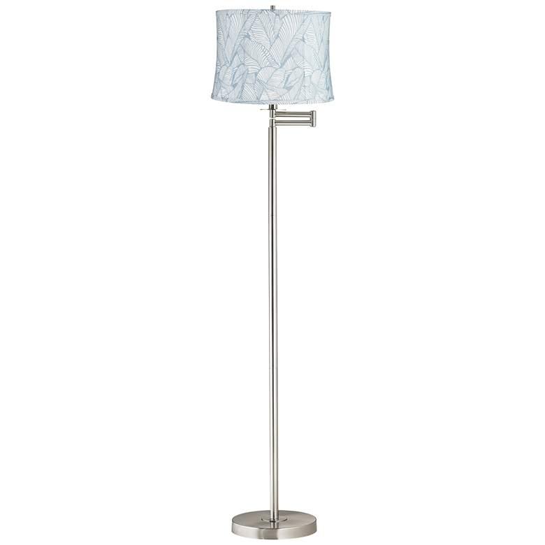 Grange Blue Brushed Nickel Swing Arm Floor Lamp