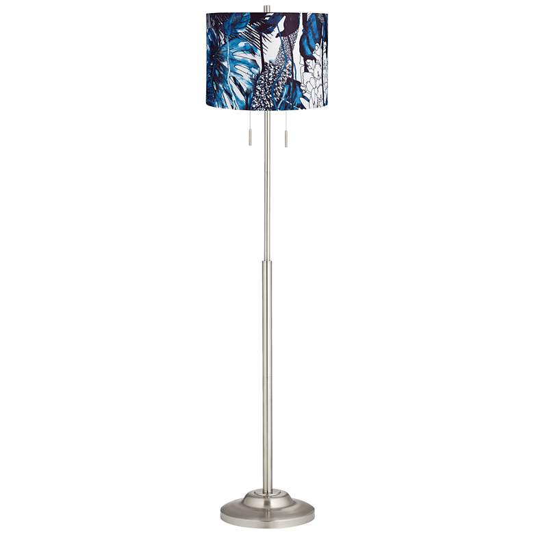Abba Blue Leaves Twin Pull Chain Floor Lamp