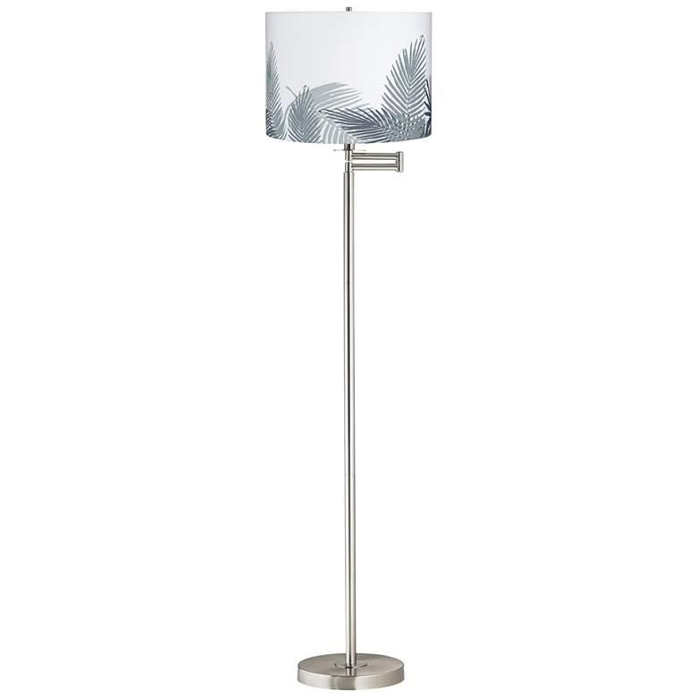 Palm Brushed Nickel Swing Arm Floor Lamp