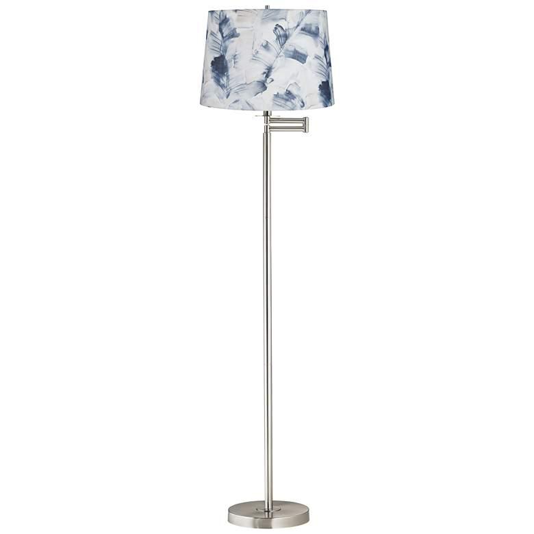 Watercolor Brushed Nickel Swing Arm Floor Lamp
