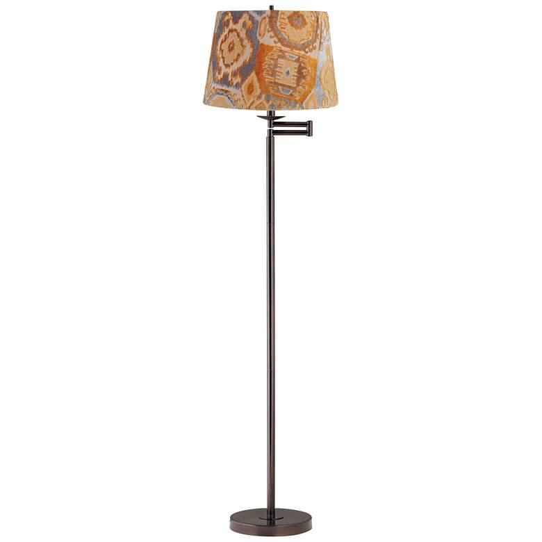 Orange Velvet Bronze Swing Arm Floor Lamp