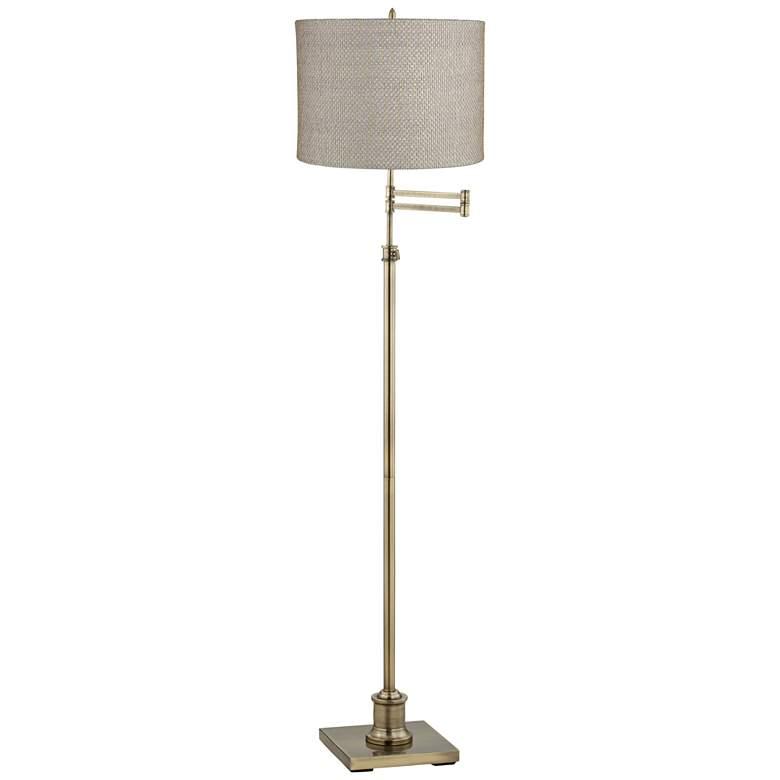 Westbury Gray And Gold Shade Brass Swing Arm Floor Lamp
