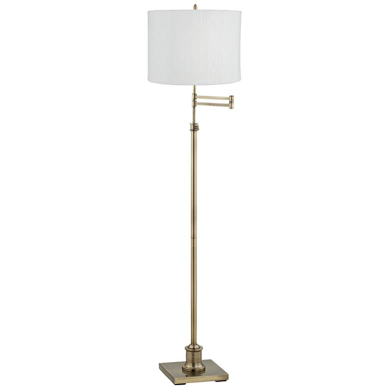 Westbury White Plastic Weave Shade Brass Swing Arm Floor Lamp