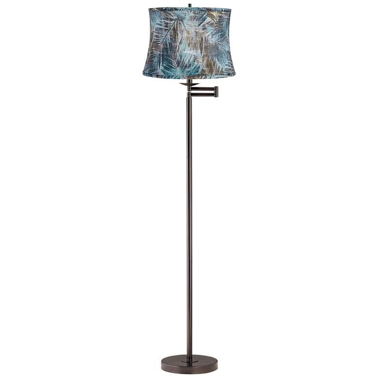Velvet Palm Bronze Swing Arm Floor Lamp