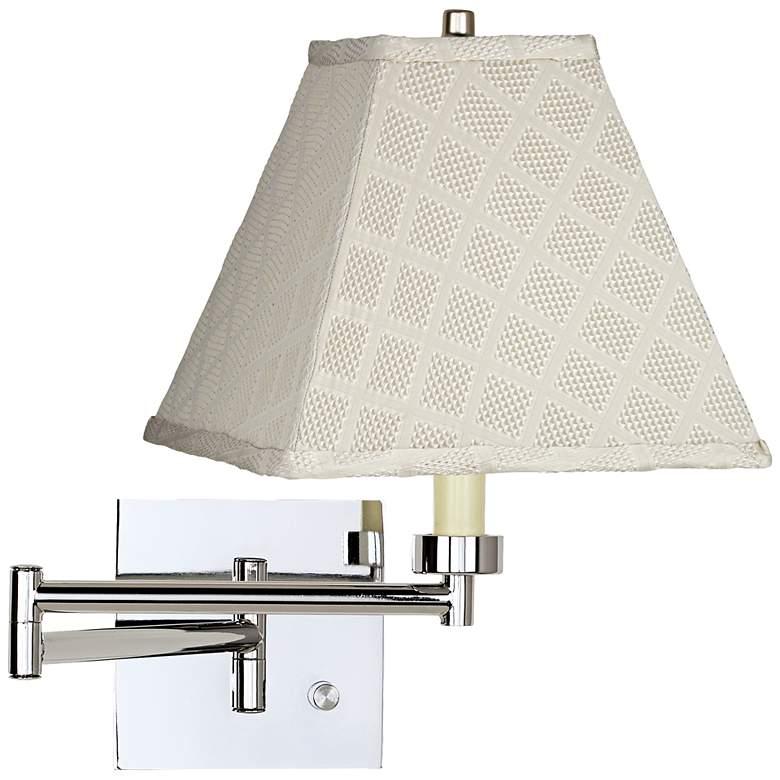 Meemaw Cream Chrome Plug-In Swing Arm Wall Lamp