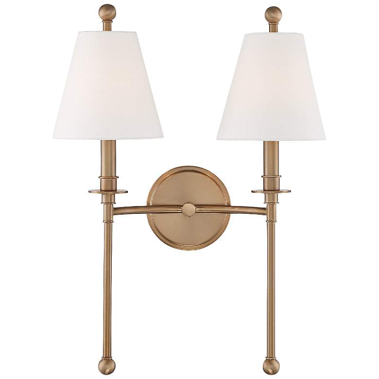 """Crystorama Riverdale 14 1/2""""H Aged Brass 2-Light Wall Sconce"""