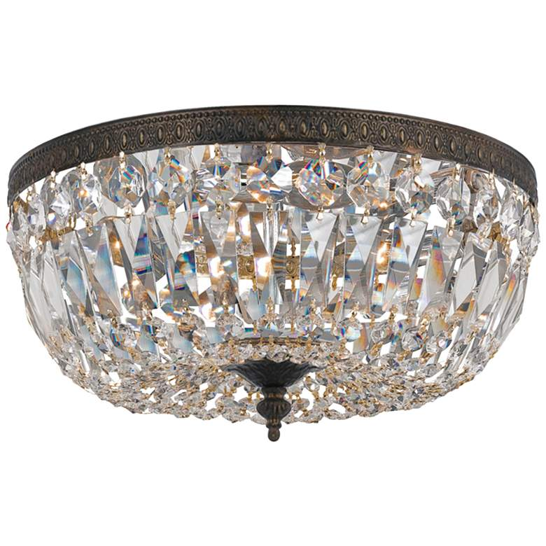 """Crystorama Ceiling Mount 16"""" Wide Bronze Crystal 3-Light Ceiling Light"""
