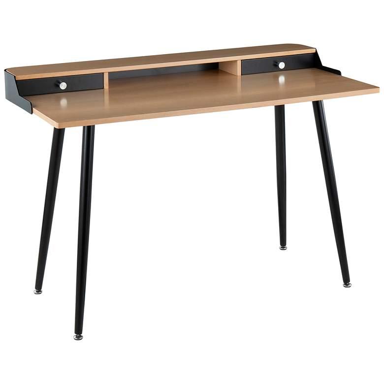 "Harvey 47 1/2"" Wide Natural Wood and Black Metal Office Desk"