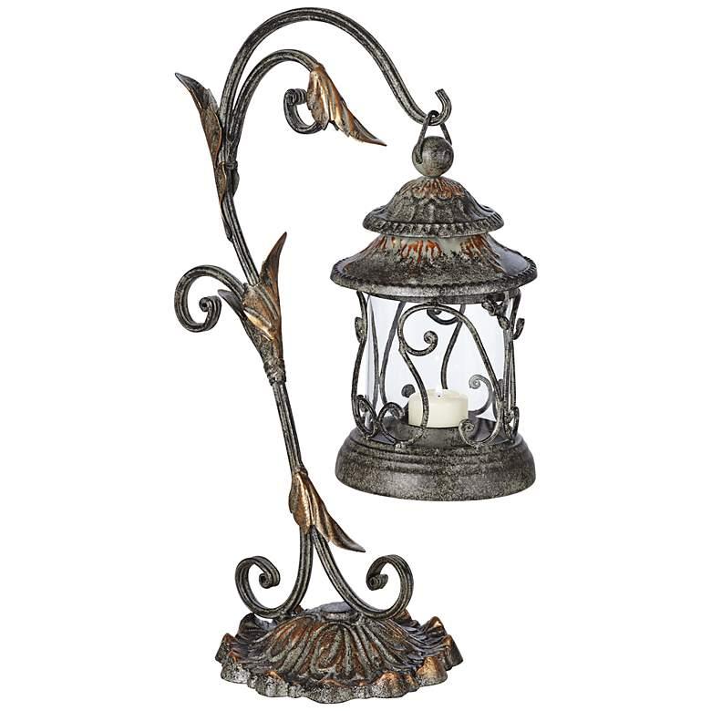 "Leaf and Vine 17 1/2"" High Pillar Candle Holder Lantern"