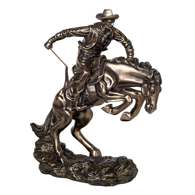 "Bucking Bronco and Cowboy 17 1/2"" High Sculpture"