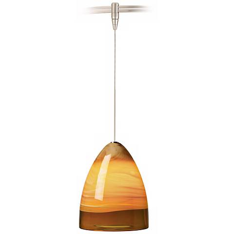 Nebbia Amber Glass Nickel LED Tech Lighting MonoRail Pendant