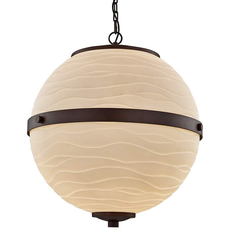 """Porcelain Imperial 25""""W Bronze Faux Porcelain Pendant Light"""