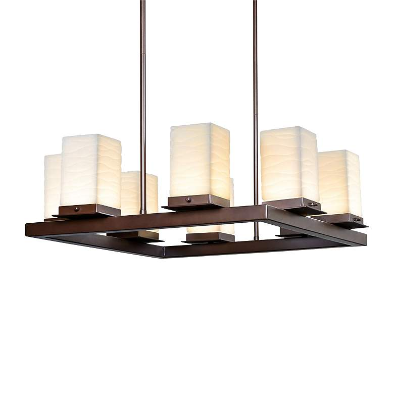 "Porcelain Laguna 25""W Bronze 8-Light LED Outdoor Chandelier"