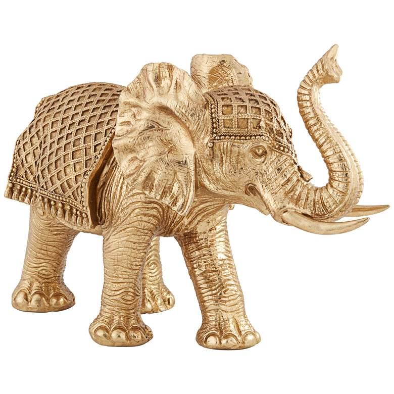 """Walking Elephant 12 3/4"""" High Gold Sculpture"""