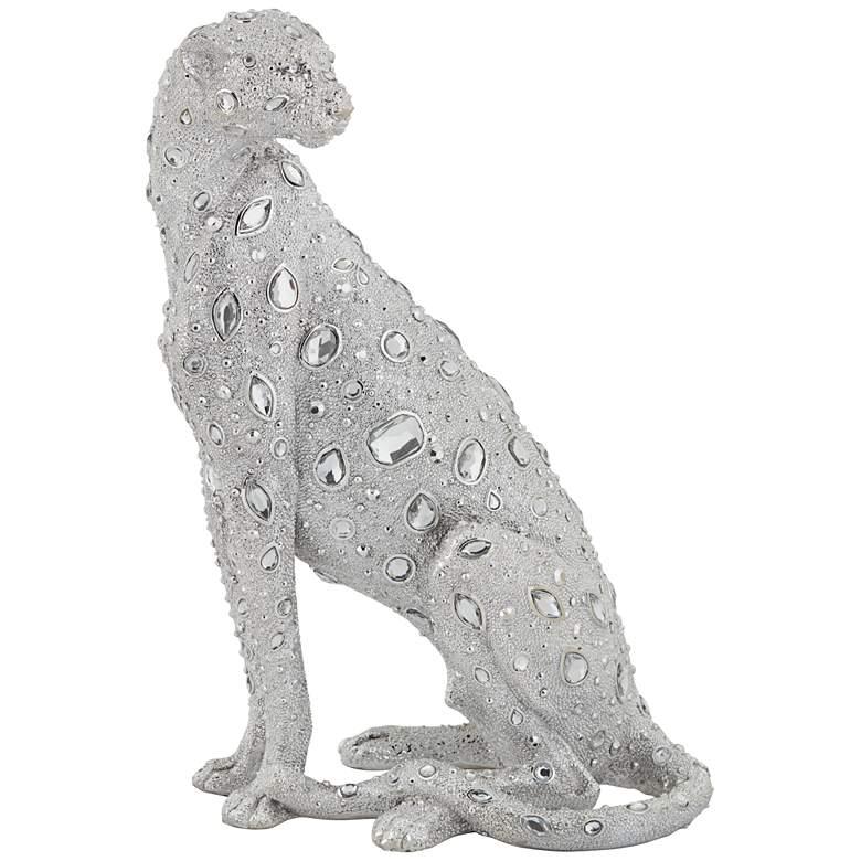 "Sitting Leopard 16"" High Silver Sculpture"