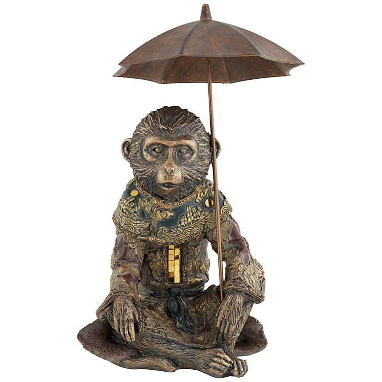 "Tropical Monkey 9 3/4"" High Bronze Sculpture"
