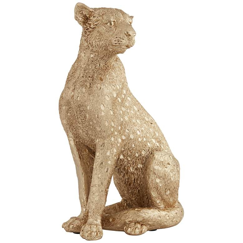 """Cheetah 10 1/2"""" High Gold Finish Table Accent Figurine"""