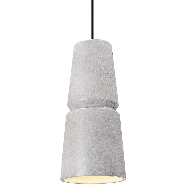 "Radiance Small Cone 6"" Wide Concrete Ceramic Mini Pendant"