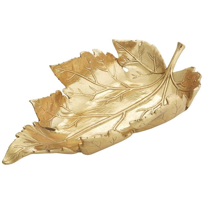 Shiny Gold Decorative Leaf Tray
