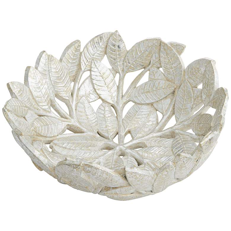 Matte Silver Decorative Leaf Bowl