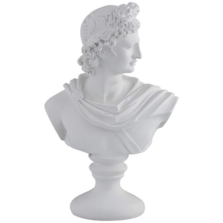 """Male 11 1/2"""" High Matte White Bust Sculpture"""