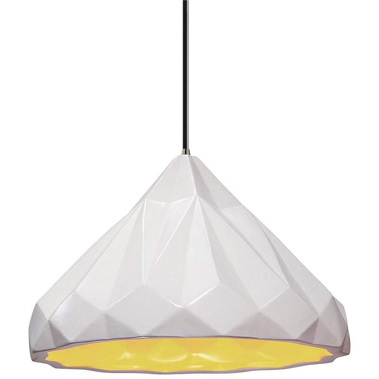 "Radiance™ Geometric 12""W White Ceramic Mini Pendant"