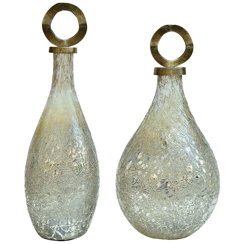 Annalisa Covered Smoked Silver Glass Vases w/ Lids Set of 2