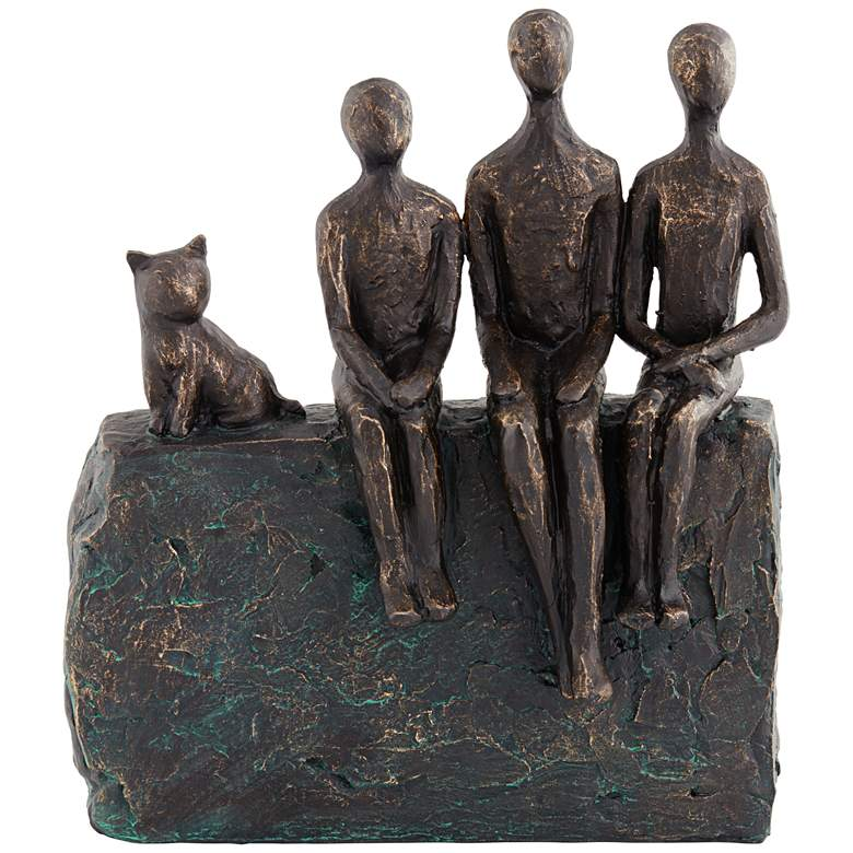 "Abstract Family 9 1/4"" High Antique Brass Sculpture"