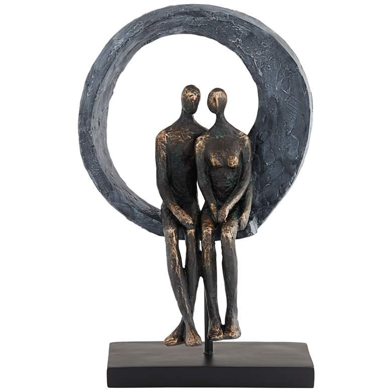 "Abstract Couple 12"" High Antique Brass Sculpture"