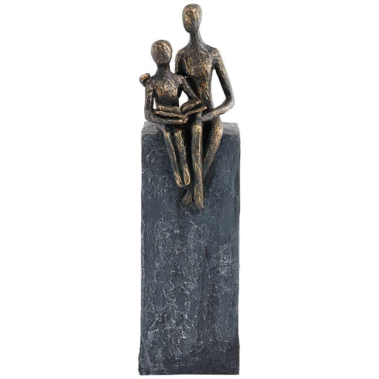 """Abstract Mother and Son 13 1/2"""" High Antique Brass Sculpture"""